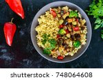 light healthy dietary vegan... | Shutterstock . vector #748064608