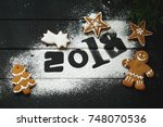 new year's gift card with... | Shutterstock . vector #748070536