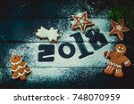 new year's gift card with... | Shutterstock . vector #748070959