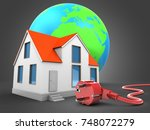 3d illustration of house over... | Shutterstock . vector #748072279