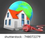 3d illustration of house over... | Shutterstock . vector #748072279