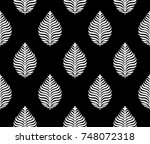 seamless black and white leaves ... | Shutterstock . vector #748072318