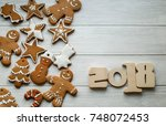 new year's gift card with... | Shutterstock . vector #748072453