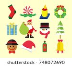 cute christmas vector pack | Shutterstock .eps vector #748072690