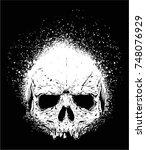 spray or grunge skull face | Shutterstock .eps vector #748076929
