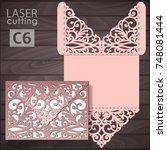 laser cut wedding invitation... | Shutterstock .eps vector #748081444