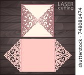 laser cut wedding invitation... | Shutterstock .eps vector #748081474