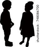children together  silhouette... | Shutterstock .eps vector #748086700