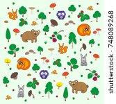 pretty vector cartoon forest...   Shutterstock .eps vector #748089268