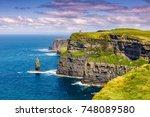 cliffs of moher ireland travel...   Shutterstock . vector #748089580