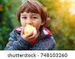 little boy child kid eating... | Shutterstock . vector #748103260