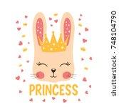 little princess. cute rabbit... | Shutterstock .eps vector #748104790