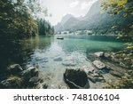 famous lake hintersee. location ... | Shutterstock . vector #748106104