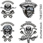 vintage motorcycle label | Shutterstock .eps vector #748107583