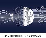 vector brain and circuit board  ... | Shutterstock .eps vector #748109203