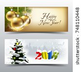 new year 2018 greeting cards   Shutterstock .eps vector #748110448
