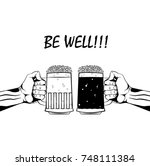 beer cups be well wish   Shutterstock .eps vector #748111384