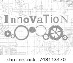 innovation sign and gear wheels ... | Shutterstock .eps vector #748118470