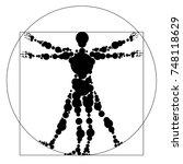 silhouette of a vitruvian man... | Shutterstock .eps vector #748118629