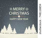 christmas and new year... | Shutterstock .eps vector #748118854