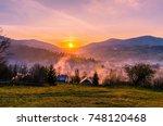 ukrainian carpathian mountains...   Shutterstock . vector #748120468