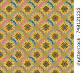 new color seamless pattern with ... | Shutterstock .eps vector #748121233