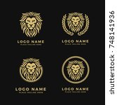 set of king lion head logo... | Shutterstock .eps vector #748141936