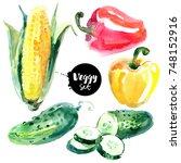 watercolor vegetables set....   Shutterstock . vector #748152916