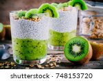 healthy breakfast. chia pudding ... | Shutterstock . vector #748153720