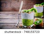 healthy breakfast. chia pudding ... | Shutterstock . vector #748153723