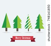 merry christmas tree with flat... | Shutterstock .eps vector #748161850