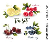 vector mixed tea set. | Shutterstock .eps vector #748166734
