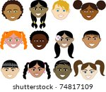 Raster version Illustration of 12 boy and girl faces with smiles. - stock photo