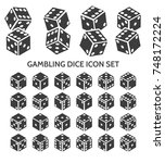 pip dice icons. vector gambling ... | Shutterstock .eps vector #748172224