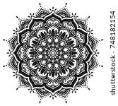 decorative hand drawn mandala   Shutterstock .eps vector #748182154