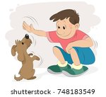 vector illustration of a boy... | Shutterstock .eps vector #748183549