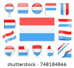 luxembourg flag set   vector... | Shutterstock .eps vector #748184866