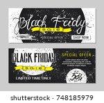 black friday sale advertising.... | Shutterstock .eps vector #748185979