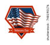 vector emblem of veterans day....   Shutterstock .eps vector #748190176