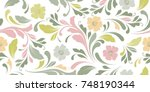 cute flowery pattern. floral... | Shutterstock .eps vector #748190344