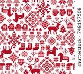 nordic pattern illustration | Shutterstock .eps vector #748197508