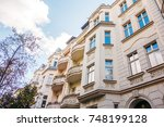 white luxury house with... | Shutterstock . vector #748199128