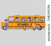 3d illustration. school bus... | Shutterstock . vector #748199296