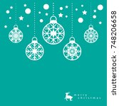 template christmas card  for... | Shutterstock .eps vector #748206658