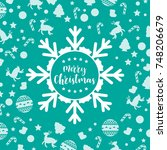 template christmas card  for... | Shutterstock .eps vector #748206679