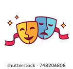 traditional theater symbol ... | Shutterstock . vector #748206808
