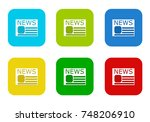 set of rounded square colorful... | Shutterstock . vector #748206910