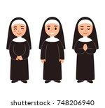 cute cartoon nun drawing set ... | Shutterstock . vector #748206940