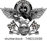 vintage wolf motorcycle label | Shutterstock .eps vector #748213330
