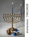 menorah first night candles | Shutterstock . vector #748218028